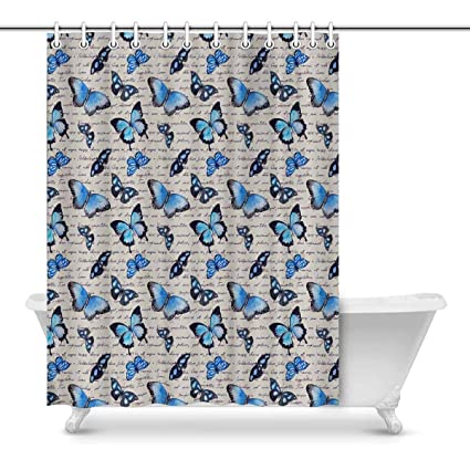 Image Unavailable Not Available For Color INTERESTPRINT Blue Butterfly Bathroom Shower Curtain