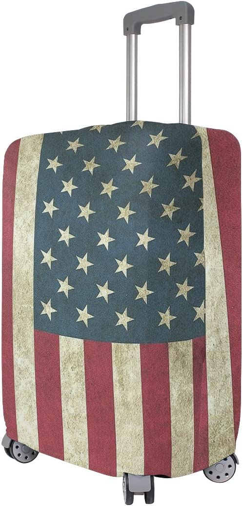 Luggage Protective Covers with Vintage American Flag Washable Travel Luggage Cover 18-32 Inch