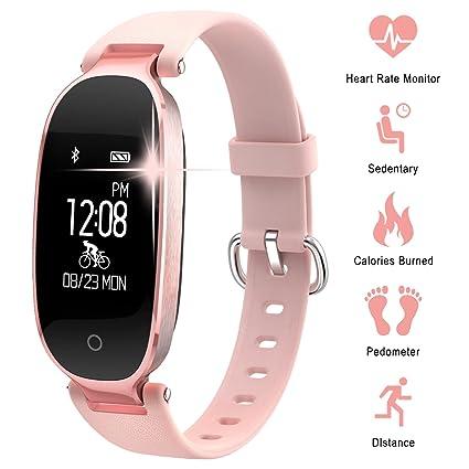 Pulsera Monitor de Actividad Pulsómetro y Podómetro para Mujeres Impermeable IP67, con Bluetooth Contador de Pasos y Monitor de Sueño para Smartphones ...