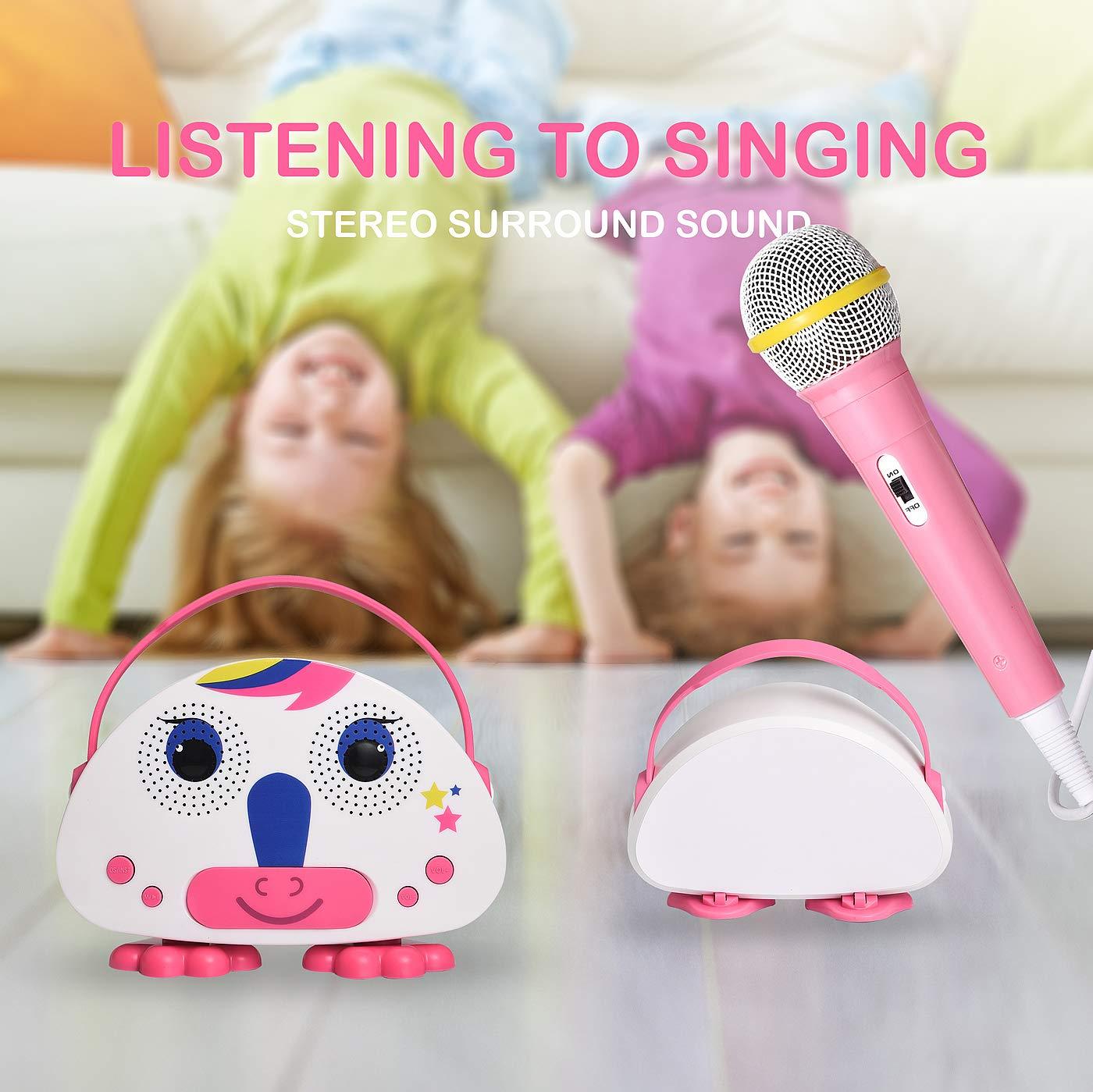 HowQ Outdoor Toys Karaoke Machine , Portable Kids Karaoke Bluetooth Speaker Wireless Cartoon Speaker for Kids for Indoor Toys Travel Activities with Microphone Karaoke Machine(Pink-White) by HowQ (Image #9)