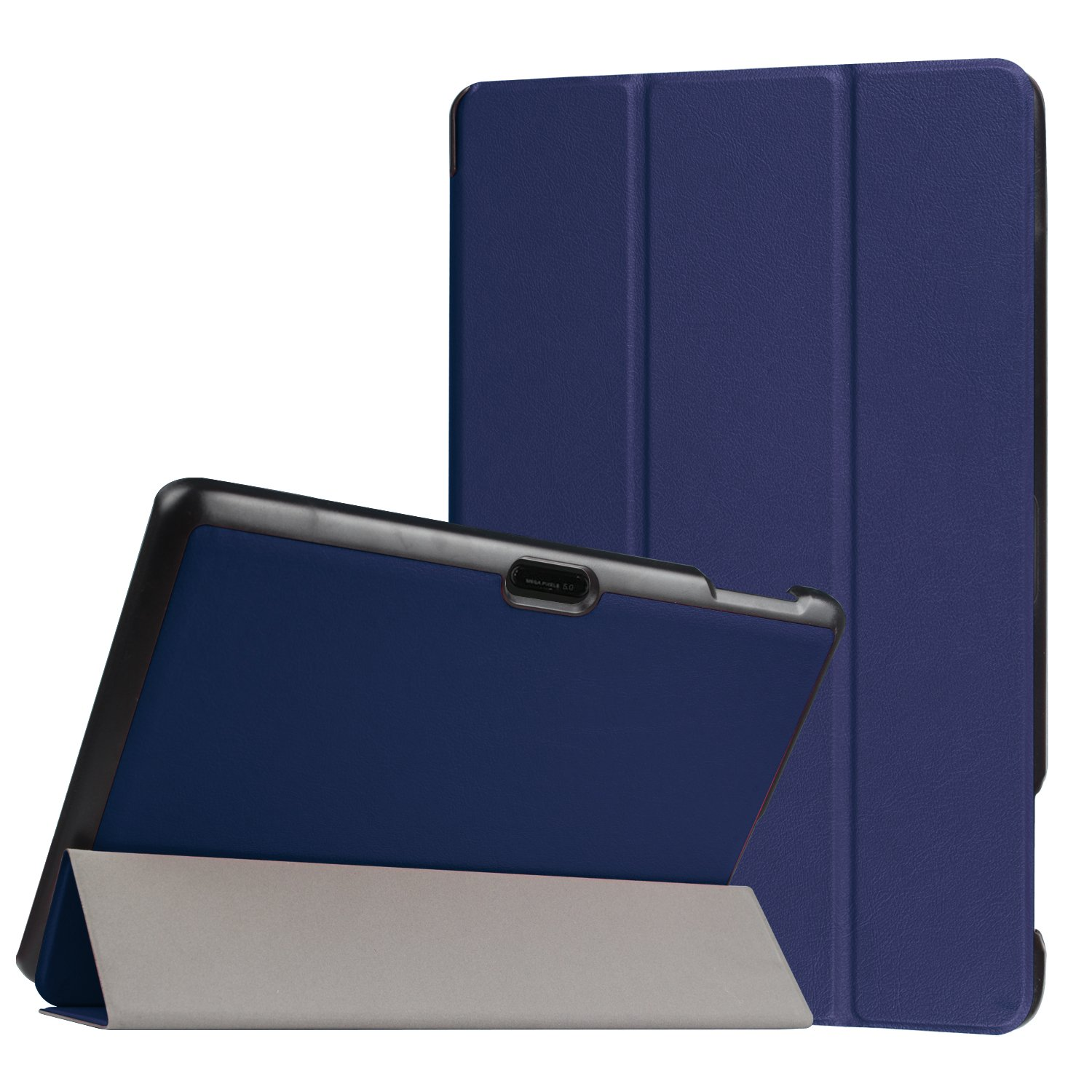 Dragon Touch X10 / KingPad K100 10.6'' Inch Case - Heavy Duty Lightweight Ultra Slim Folding Cover Kickstand PU Leather Folio Shell Full-Protective Shell for Dragon Touch X10 / KingPad K100 (navy blue)