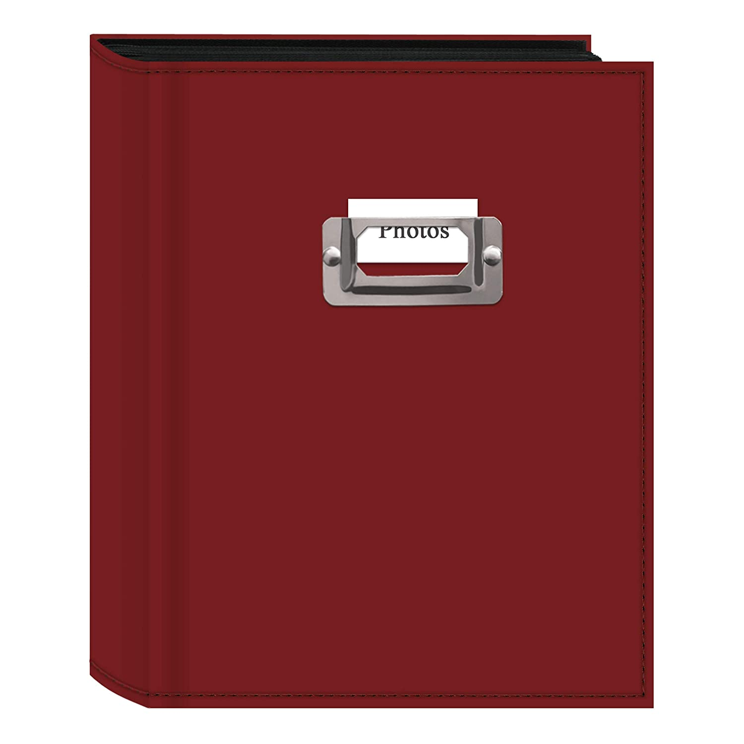 Plate for 4 by 6-Inch Prints Pioneer Photo 208-Pocket Bright Red Sewn Leatherette Photo Album with Silvertone Metal I.D