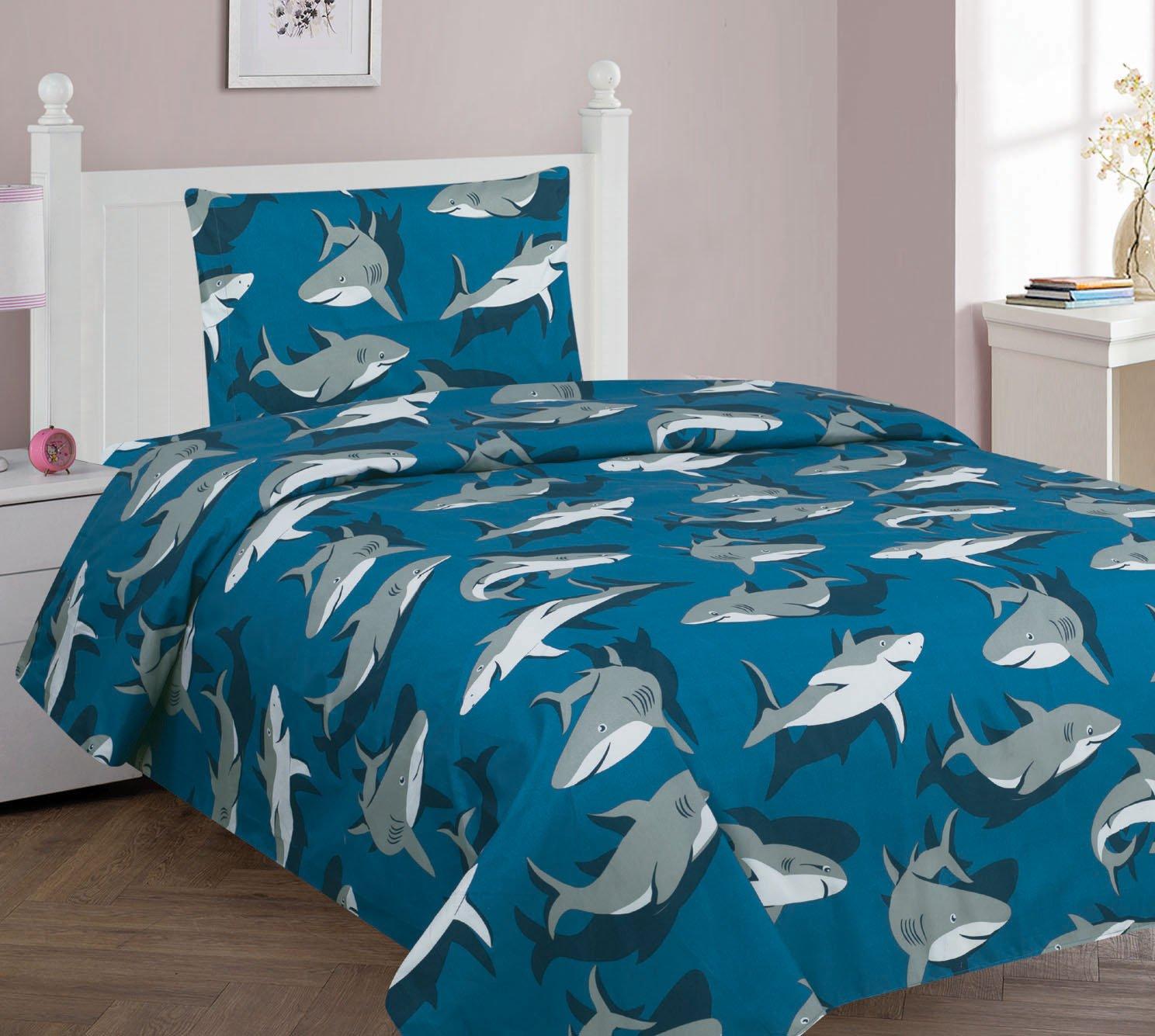 Golden Linens Twin Size 3 Pieces Printed Sheet set Multi colors Blue Grey Shark Design Boys/Kids/Teens # Twin Sheet Shark