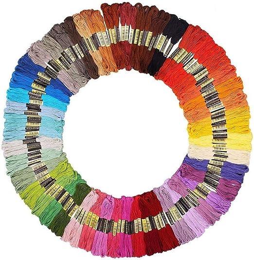 Hilos de bordar,150 Colores Algodón Bordado Kit de Hilos Cross ...