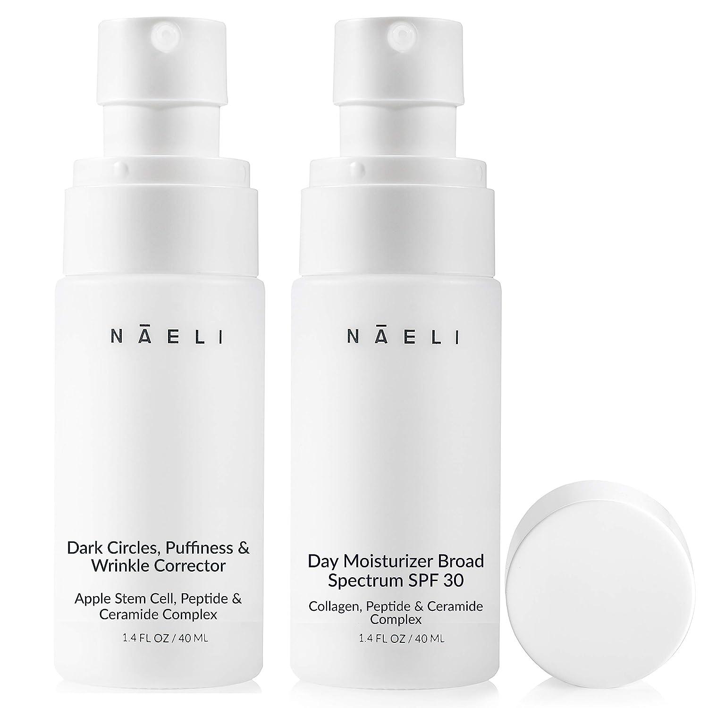 NAELI Collagen Face Moisturizer SPF 30 & Apple Stem Cell Under Eye Cream Set - Anti Aging Skincare Gift for Women & Men, Restores, Protects & Reduces Wrinkles, Natural & Cruelty Free, 1.4oz