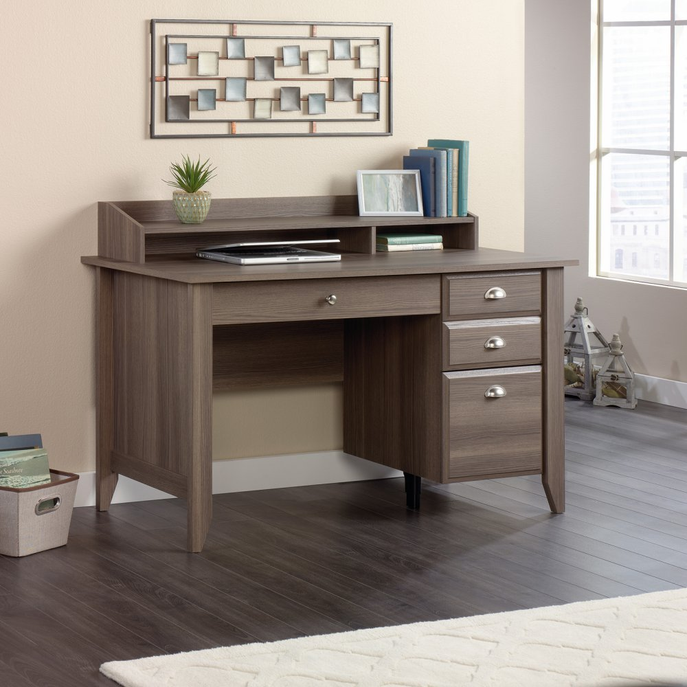 Sauder shoal creek executive desk in jamocha wood - Amazon Com Sauder Shoal Creek Computer Desk In Diamond Ash Kitchen Dining