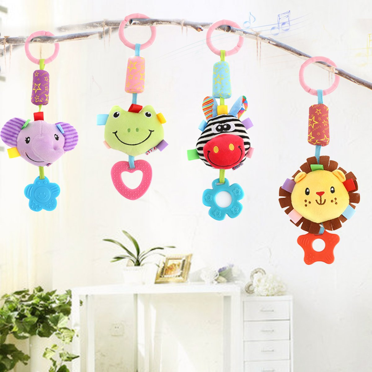 4 Pack Washable Infant Stroller Toys with Cute Wind Chime and Plush Squeak Crib Toys for Baby Boys and Girls DOMIRE Baby Rattle Hanging Toys