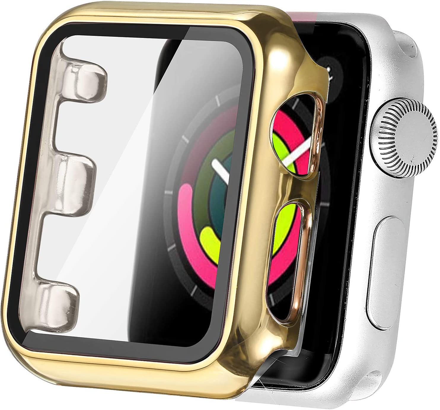 Secbolt 38mm Case Compatible Apple Watch Series 1 Series 2 Series 3 with Built in Tempered Glass Screen Protector- All Around Protective Case for Apple Watch Series 3/2/1 38mm (Gold)