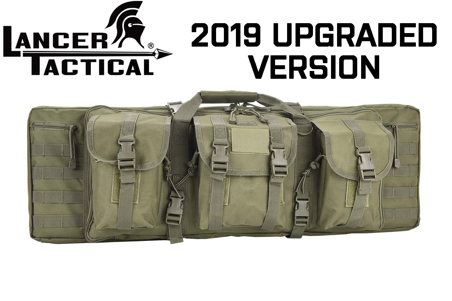 Lancer Tactical Rifle Case 600D Polyester Double Long Rifle Bag Tactical Gun Case Accessory Pouches Secondary Gun Compartment Lockable for Hunting Shooting (Olive DRAB Green, 36'' INCH) by Lancer Tactical