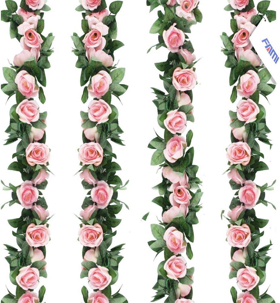 FAMI 4PCS(28.8 FT,16 Flowers) Fake Rose Vine Flowers Plants Artificial Flower Hanging Rose Ivy Home Hotel Office Wedding Party Garden Craft Art Décor-Pink