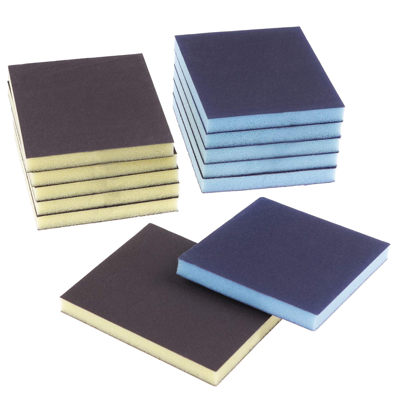 12 Pieces Sanding Sponge Sanding Blocks,Reusable and Washable Sand Sponge Kit, Assortment Grade (2 Colors) by Olgaa