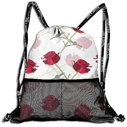 0d9ed72dc5c2 Amazon.com: MODREACH Drawstring Backpack Bags - Romantic Rose Sack ...