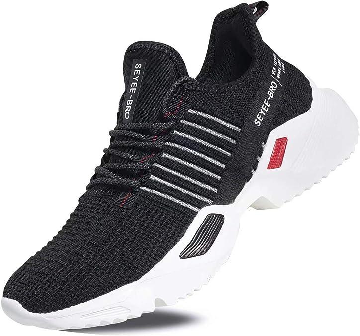 Seyee-bro - Zapatillas Deportivas para Hombre (Transpirables), Negro (Sy9105-negro/rojo), 40.5 EU: Amazon.es: Zapatos y complementos
