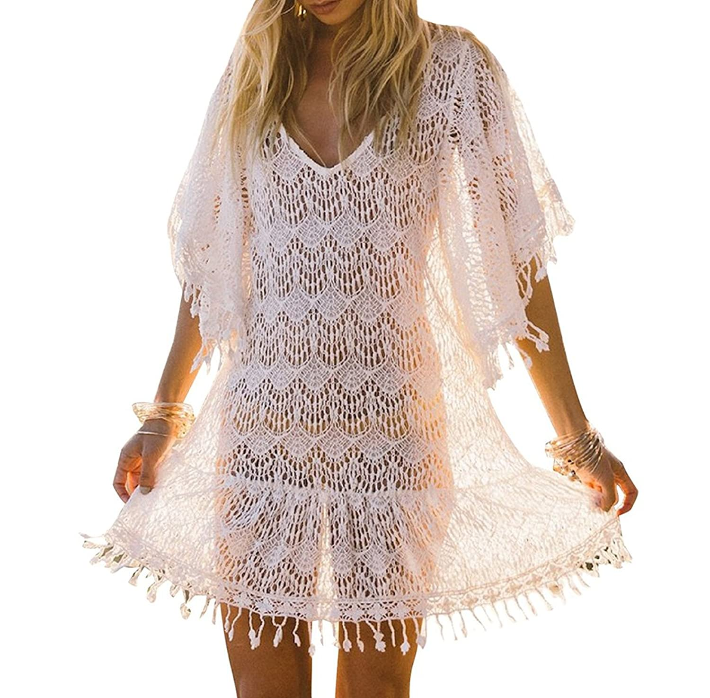 9c71e14345a47 Bestyou Women's White Lace Crochet Mini Dress Fringe Bathing Suit Cover up  Tunic Tops Swimwear