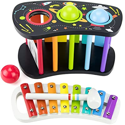 Imagination Generation Space Adventure Pound & Tap Bench with Slide Out Xylophone: Toys & Games