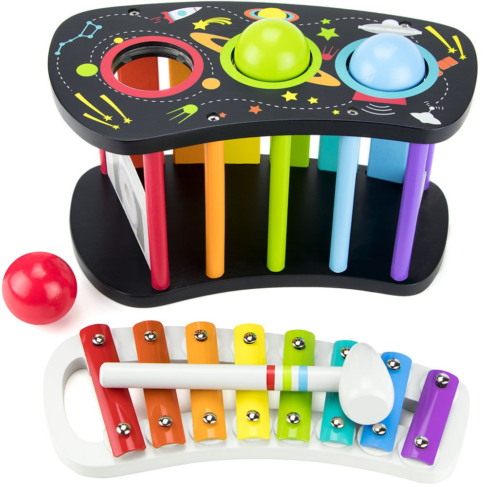 Space Adventure Pound & Tap Bench with Slide Out Xylophone by Imagination Generation