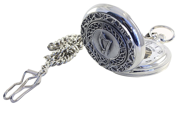 Mullingar Pewter Pocket Watch Irish Harp Mechanical