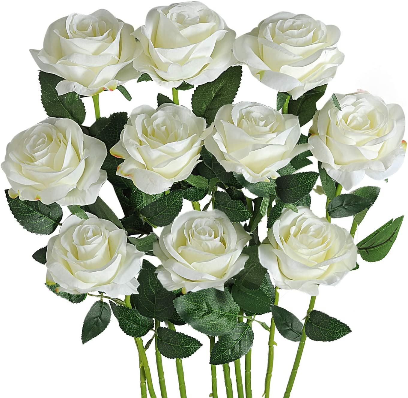Amazon Com Fllojoya Artificial Roses For Decorations White Artificial Flowers Roses Long Stem Artificial Fake Rose For Wedding Party Home Decor Off White Silk Rose Furniture Decor