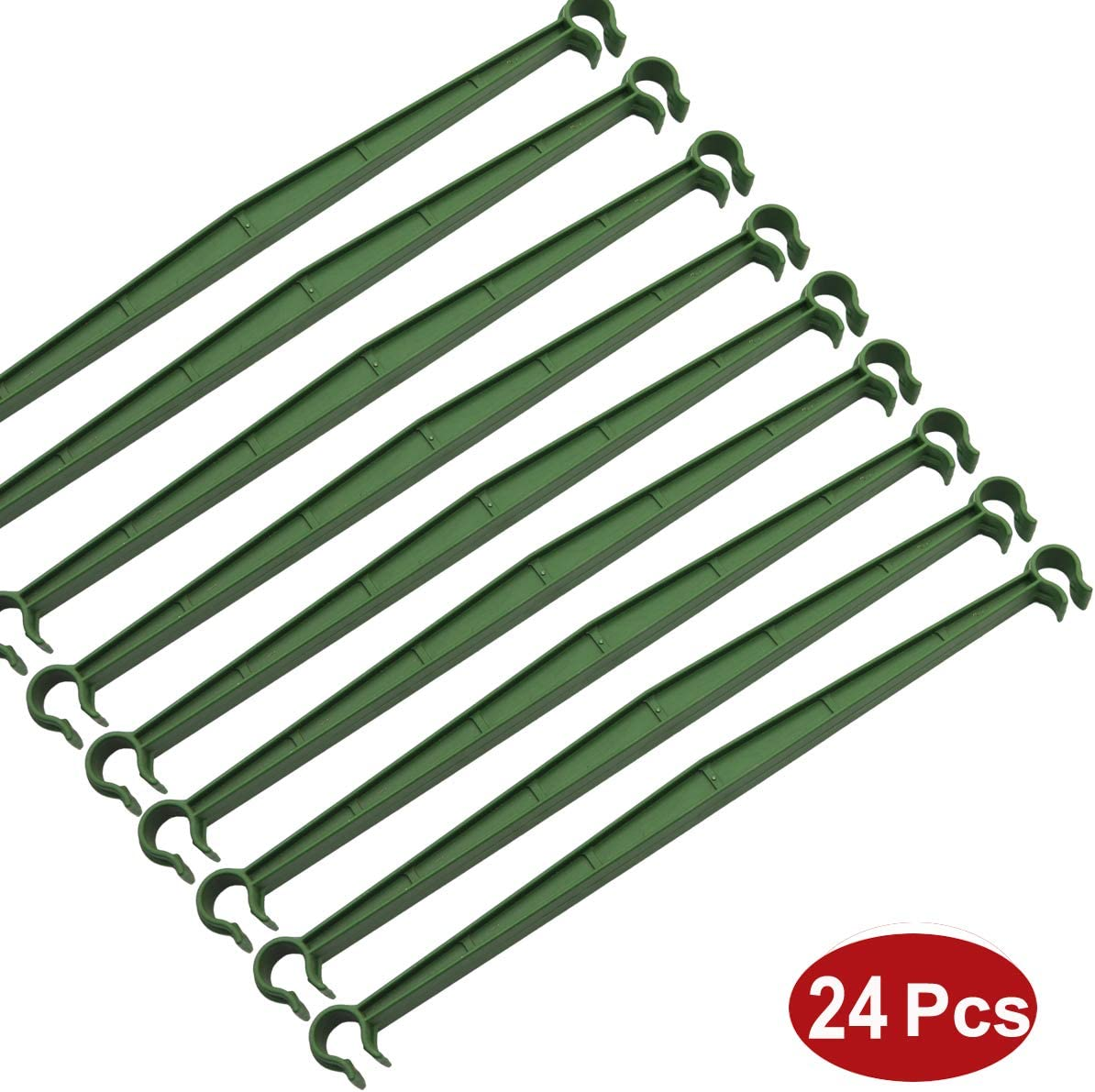 Amgate 24 Pcs Stake Arms for Tomato Cage, 11.8 Inches Expandable Trellis Connectors for Any 11mm Diameter Plant Stakes, 2 Buckle Adjustable for Climbing Plants, Vegetables, Flowers, Vine, Fruits