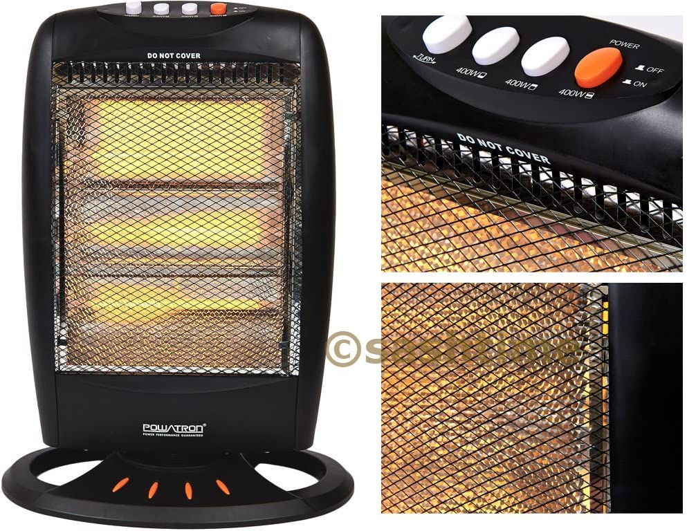 1200W Portable Halogen Heater Home /& Office Electric Oscillating 3 Setting White