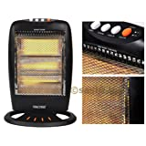 1200w 3 Bar Portable Electric Oscillating Halogen Heater For Home Office (Randomly Selected Colour Black or White)