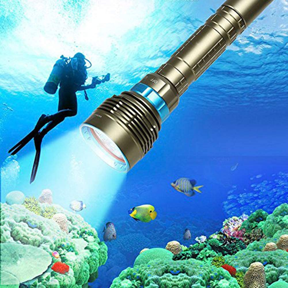 Linterna de luz Impermeable para Deportes al Aire Libre Linterna de Buceo 7 Bombillas LED BOLLAER Linterna de Buceo bajo el Agua Sumergible 100 m 18000 LM