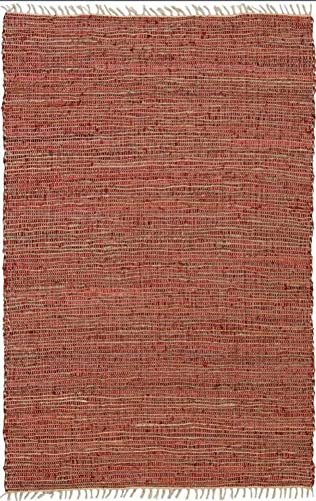 Matador Leather and Hemp Rug, 5 by 8-Feet, Copper