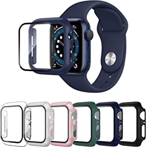 SLYEN 6 Pack Case with Tempered Glass Screen Protector for Apple Watch 38mm Series 3/2/1, Full Coverage Bumper with HD Ultra-Thin Cover for iWatch 38mm