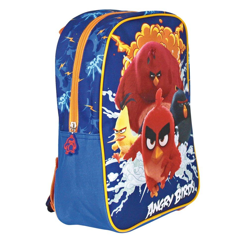 Mochila para niño de Angry Birds - Bolso escolar con estampado Red Chuck Bomb y Terence - Bolsa para la escuela y la guarderia con tirantes acolchados y regulables - 31x24x10 cm - Perletti