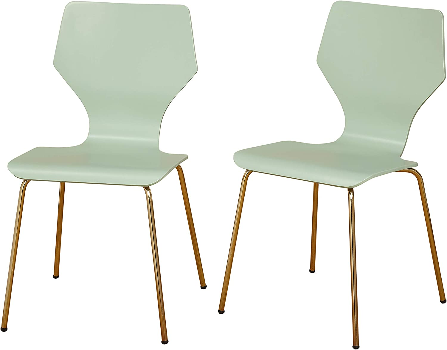 Angelo:HOME Enna Mid Century Bentwood Seat Dining Chair with Metal Legs, Set of 2, Mint