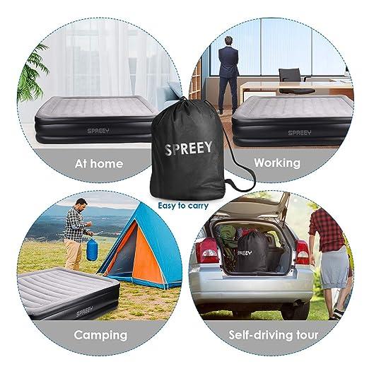 SPREEY - Colchón Hinchable de 2 Personas eléctrico para Camping ...