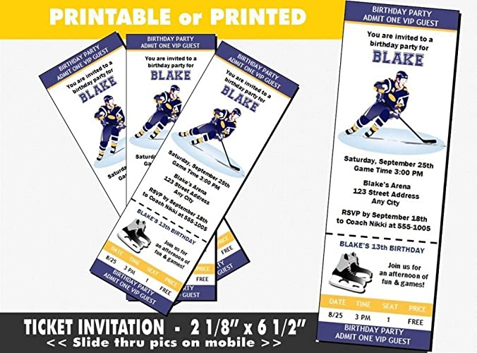 Hockey Birthday Party Ticket Invitation Printable Or Printed Option