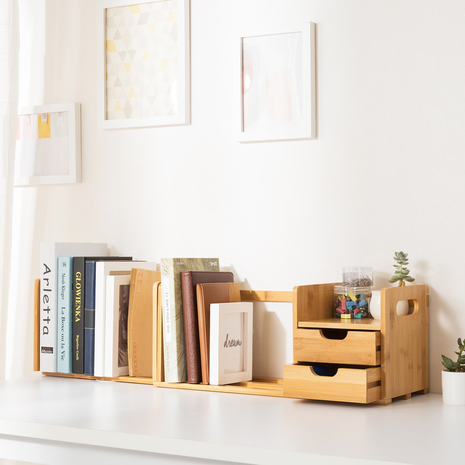 Ollieroo Natural Bamboo Desk Organizer with Extendable Storage for Office and Home, CD Holder Media Rack