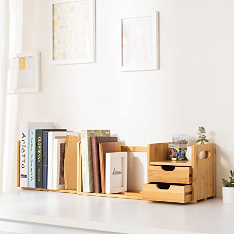 Ollieroo Natural Bamboo Desk Organizer With Extendable Storage For Office  And Home, CD Holder Media