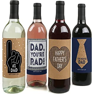 product image for Big Dot of Happiness My Dad is Rad - Father's Day Gift For Men - Wine Bottle Label Stickers - Set of 4