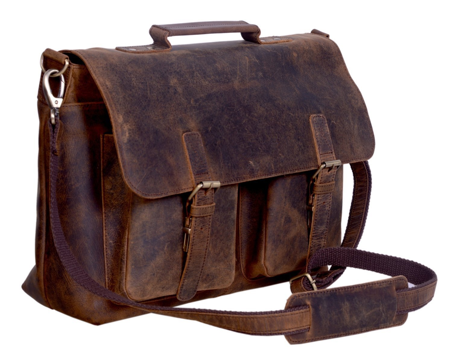 KomalC 18 Inch Buffalo Leather Briefcase Laptop Messenger Bag Office Briefcase College Bag for Men and Women by KomalC