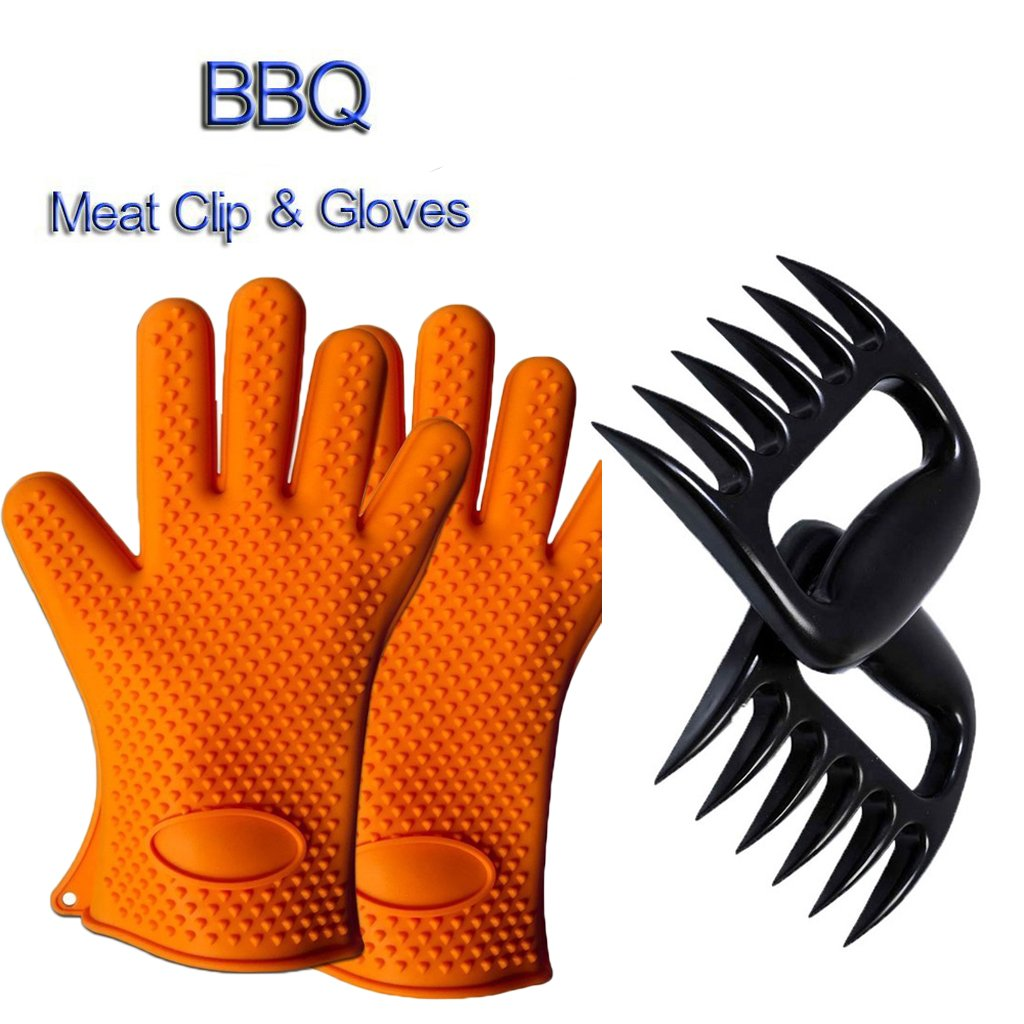 Andyshi One Pair Silicone Heat Resistant Grilling BBQ Oven Mitts Gloves & 1 Pair BBQ Meat Separate Pork Claws Orange