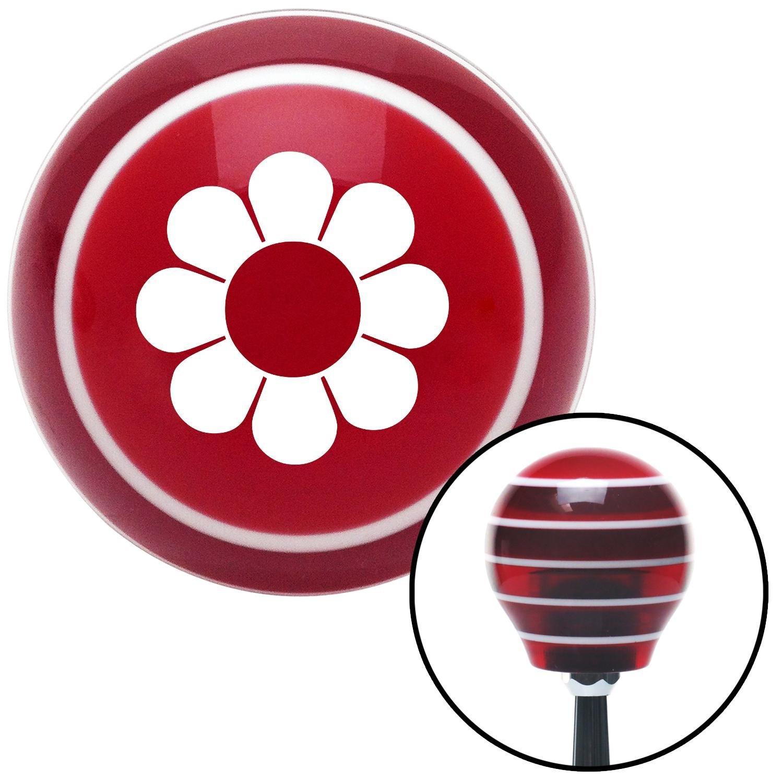 White Hawaiian Flower #4 American Shifter 113561 Red Stripe Shift Knob with M16 x 1.5 Insert