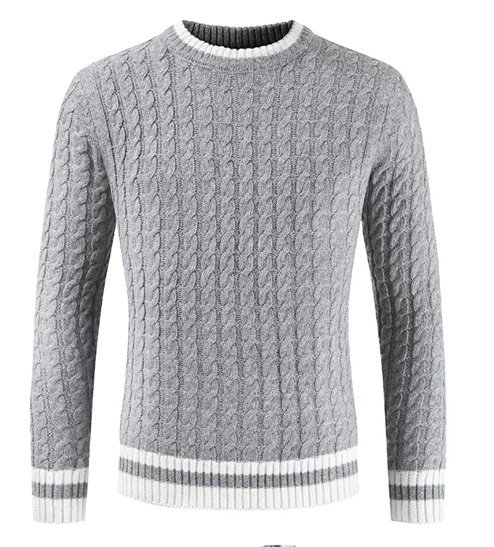 Frieed Mens Crewneck Stylish Long Sleeve Ribbed Cable Knit Pullover Sweater
