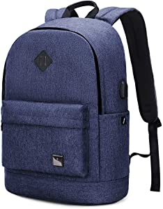 Travel Laptop School Backpack for Women Men Fits 15.6in Notebook College Student Bookbag,Vintage Casual Daypack for Boy Girl blue