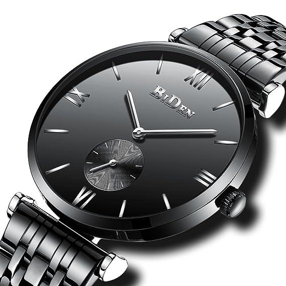 Relojes Negros para Hombre Reloj de Pulsera de Cuarzo Analógico Impermeable para Hombres Relojes de Diseñador de Acero Inoxidable Simple Gents Negocio de La ...