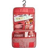 Hanging Toiletry Bag Multifunction Cosmetic Bag Portable Makeup Pouch Waterproof Travel Hanging Organizer Bag for Women/Men Girls/Boys (Red)