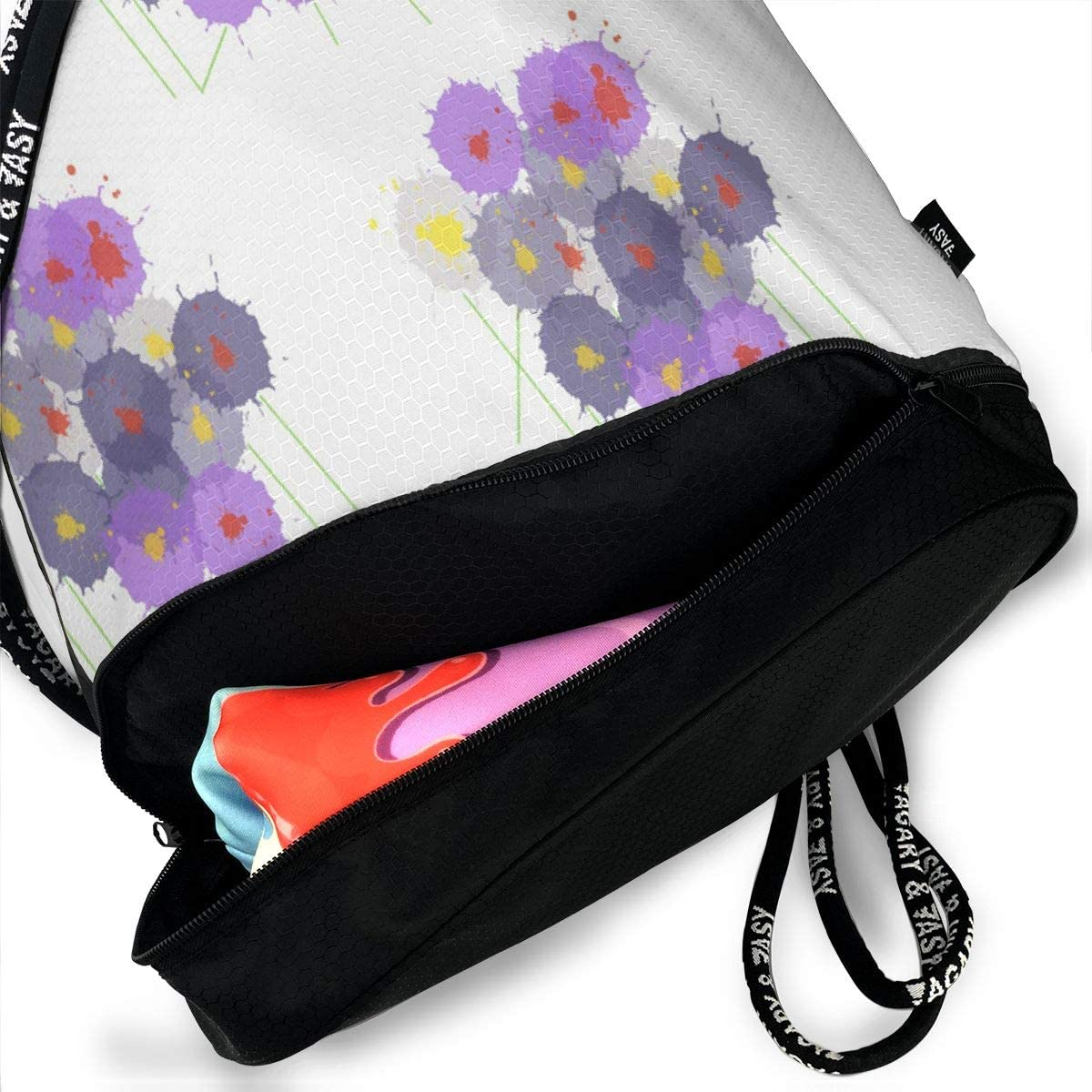 Bouquet Flowers Drawstring Backpack Sports Athletic Gym Cinch Sack String Storage Bags for Hiking Travel Beach