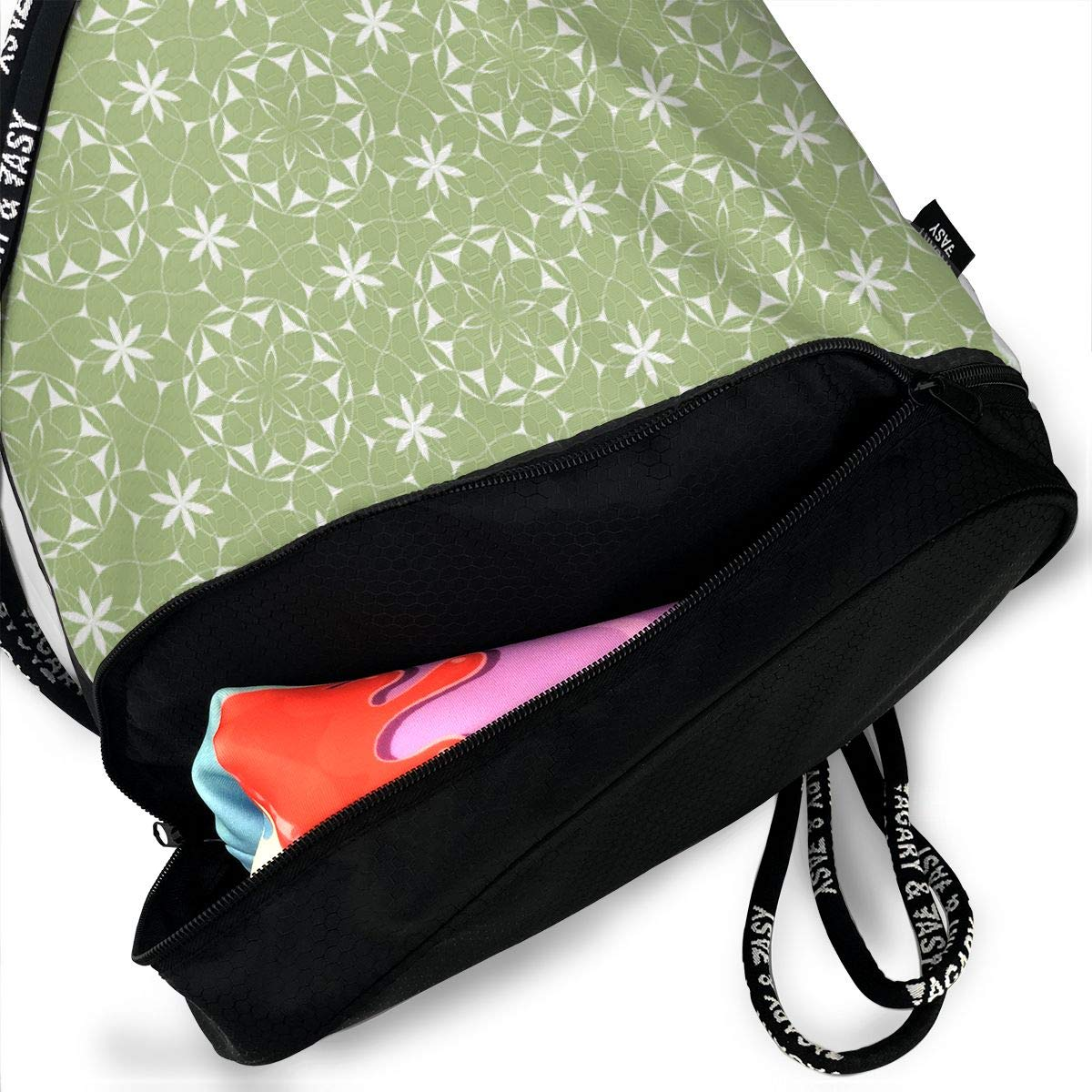 Lacey Web Flowers Green Drawstring Backpack Sports Athletic Gym Cinch Sack String Storage Bags for Hiking Travel Beach