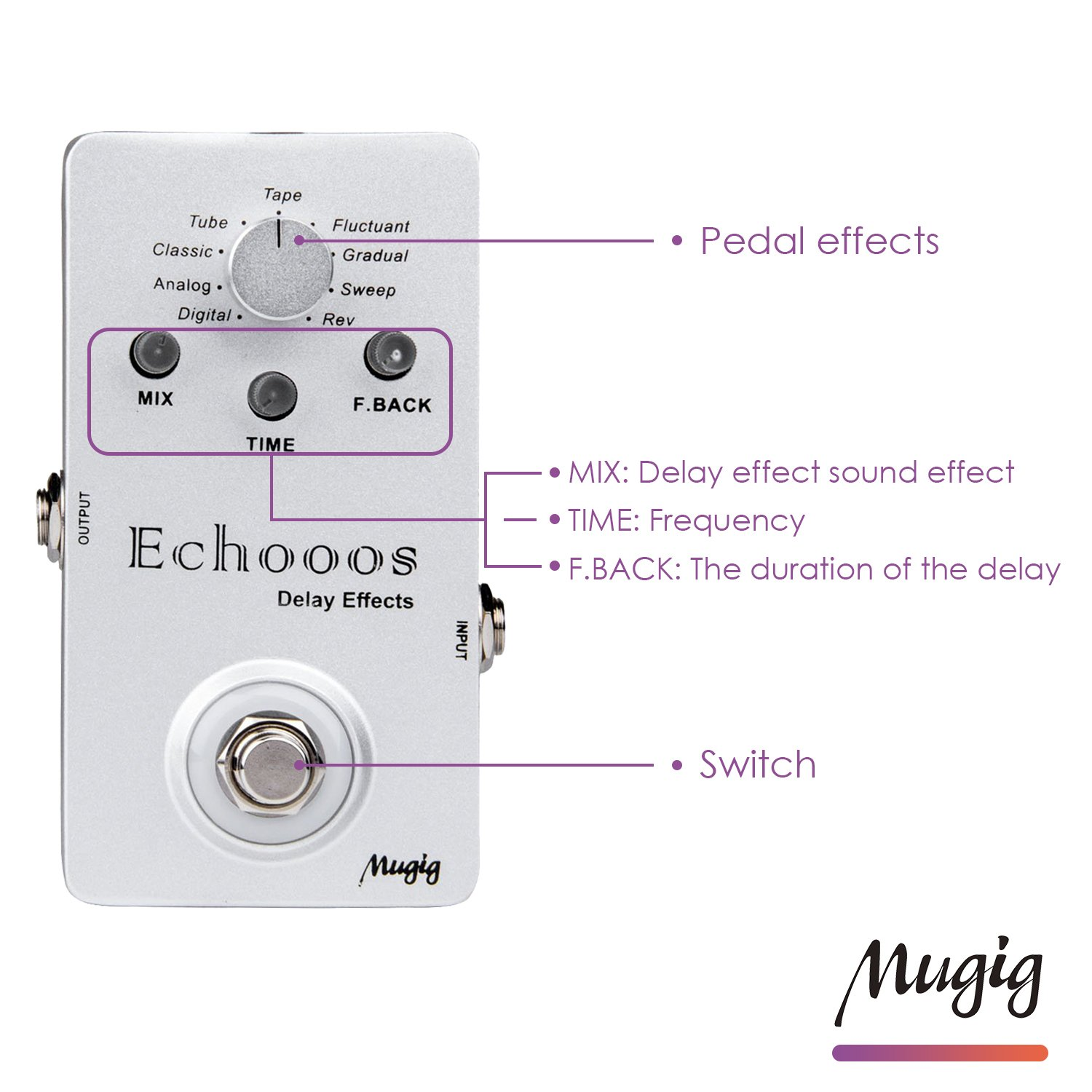 Mugig Guitar Pedal Digital Delay Effect Effect True Bypass Pedal Effect for Electric Guitar