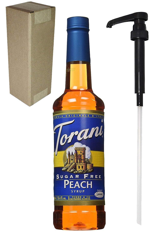Torani Sugar Free Peach Syrup, botella de cristal de 750 ml ...