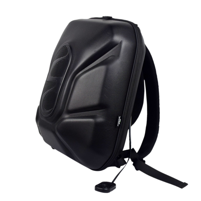 WILDMAN Multi-Functional Waterproof Lightweight Enabled Wireless Bluetooth Speaker LED Light Backpack (Black(Plus))