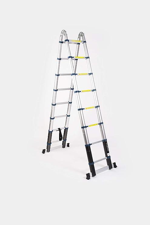 WORHAN® 5m Escalera Doble Telescopica PRO Multiuso Multifuncional ...