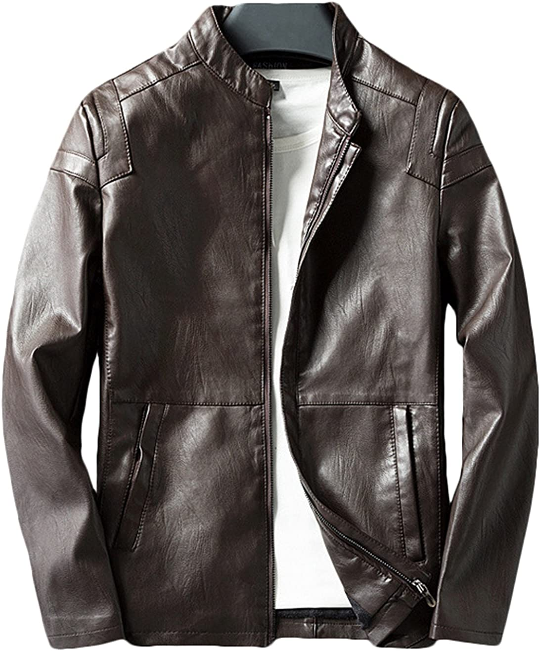 Youhan Mens Casual Pu Faux Leather Coat Zip-Up Jacket