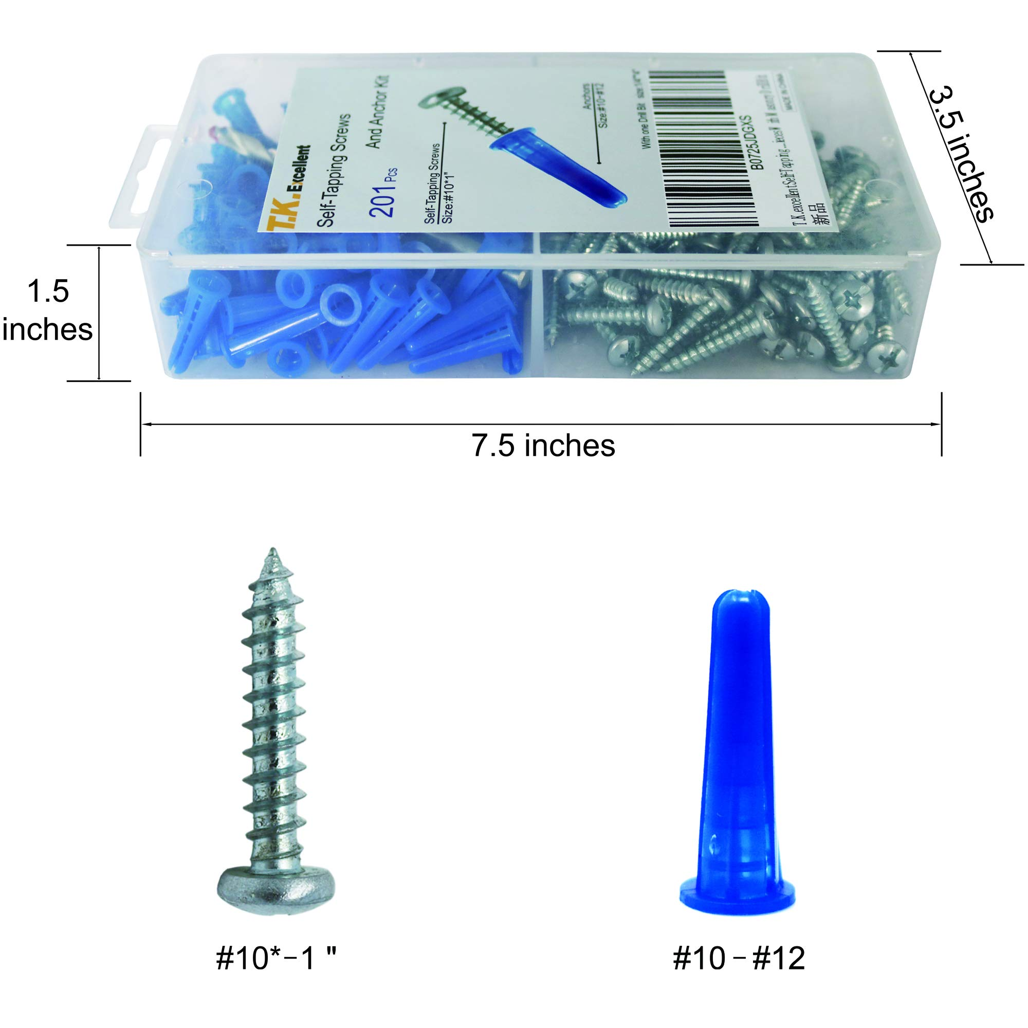 T.K.Excellent Blue Conical Plastic Anchor and Self Tapping Screw and Masonry Drill Bit,201 Pieces by T.K.excellent (Image #3)